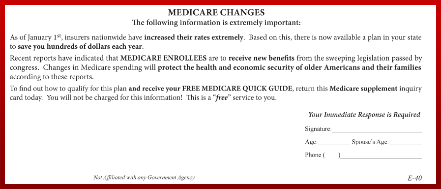 Medicare Advantage direct mail lead offered by LeadHeroes.com.